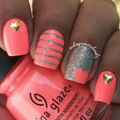 Coral, Grey Shimmer  Metallic Gold Manicure.