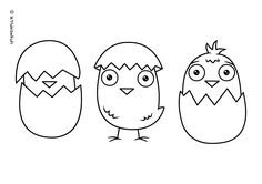 Coloring page for kids - Chick in shell http://letsdrawkids.com