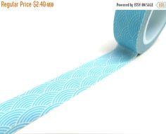 Japanese Blue Waves Washi Tape, Light Blue Washi Tape Shipping End of July 2016