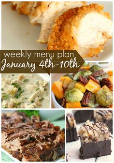 Happy New Year! This week's, Weekly Menu Plan is a little more healthy, but don't worry, we still included some desserts and some of our most favorite warm winter dishes to keep your family full and on the go!