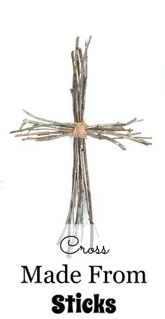 Cross made from sticks and jute twine