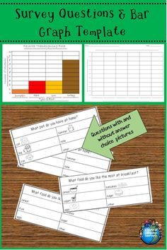 Survey question sheets with & without pictures, for students to collect data about their classmates. Includes a bar graph organizer to graph the data. #graphing #survey #esl #esol