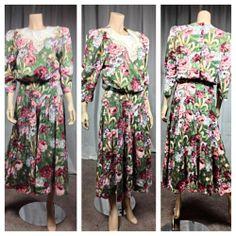 $7 Vintage Retro 1980s floral pleated day secretary garden party  dress #Dresses