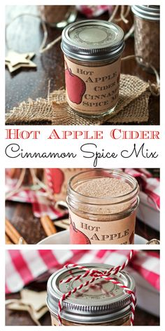 This recipe for homemade Hot Apple Cider Cinnamon Spice Mix is amazing! It's easy to make with few ingredients and makes for a perfect DIY Christmas food gift! Stir into hot apple juice or red wine for a delicious and warming holiday drink!