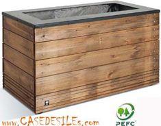 Jardiniere bois à Prix Cassé : Bac à fleurs bois métal rectangulaire 45x90x50
