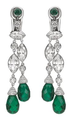 Classics earrings in 18K rhodium plated white gold, diamonds and emeralds. Chaumet, Paris
