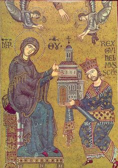 William II of Sicily presenting the Virgin with the cathedral of Monreale in 1186
