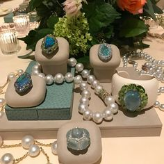 A sea of blue  these divine colors are all around us in nature and I think that\'s why we find them so happy to wear and gaze upon. #margotmckinneyjewellery #preciousjewels #oneofakindjewelry #neimanmarcus #pearlnecklace #aquamarine #opal #paraiba