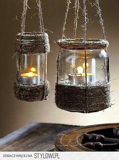 DIY Lanterns made from Mason Jars and jute rope. Mason Jars, Bottles And Jars, Glass Jars, Candle Jars, Mason Jar Lanterns, Mason Jar Candle Holders, Rustic Lanterns, Rustic Candles, Garden Lanterns