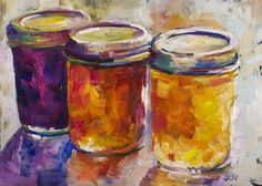 """Jam Jars Study No. 1"" - Original Fine Art for Sale - © Sue Churchgrant"