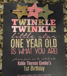 Twinkle Twinkle little star first birthday invitations! I love the pink and gold sparkle! Twinkle Twinkle little star first birthday invitations! I love the pink and gold sparkle! Baby Girl 1st Birthday, Bday Girl, Birthday Fun, First Birthday Parties, Birthday Ideas, Birthday Banners, Pink And Gold Birthday Party, Girl Birthday Themes, Birthday Photos