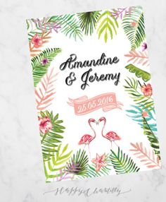 faire-part mariage tropical vert feuillages flamand rose sur mesure illustration illustré aquarelle illustratrice faire-part sur mesure