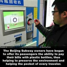 Great idea!  Paying for mass transit in Beijing with plastic bottles!     The US should be much more proactive with recycling!!  If other countries can do it, so can we :-)