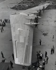 "(1946)*** - View of the YB-35 prototype, considered to be the ""Grandpa"" of the B-2 Bomber. It was designed by Jack Northrop and had its first flight on June 25, 1946."