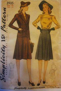 Simplicity 3935 Womens 1940s Suit Pattern Jacket by Denisecraft, $35.00