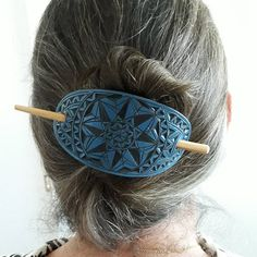 Black and Blue geometric hand carved leather hair barrette Leather Cuffs, Leather Jewelry, Leather Belts, Etsy Handmade, Handmade Jewelry, Artisan Jewelry, Jewelry Shop, Handmade Gifts, Handmade Items