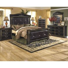 Signature Designs by Ashley Coal Creek Dark Brown Faux Leather Poster Bed (Dark Brown/Gold Brushing King Bed)