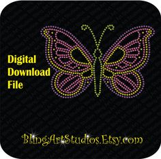 DIGITAL FILE for Monarch Multi-Color Butterfly, Digital Monarch Butterfly, cdr File, svg file, Digital Rhinestone File by BlingArtStudios on Etsy
