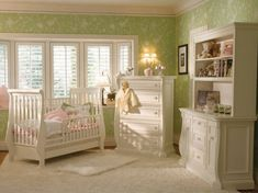 Baby Nursery Choosing Baby Nursery Designs: Cotton Field Baby Nursery Design Ideas With Pale Green Wallpaper Based And White Fancy Furniture Set Decoration Also Similar High Pile Rug Baby Girl Nursery Decor, White Nursery, Nursery Room Decor, Baby Bedroom, Nursery Ideas, Nursery Furniture, Room Baby, Babies Nursery, Nursery Themes