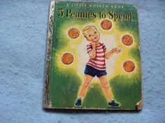 vintage little golden book illustrations   VINTAGE Little Golden Book 5 PENNIES TO SPEND cute illustrations by ...