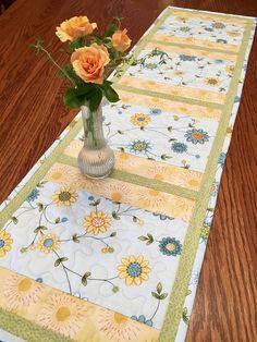 Quilted Table Runner Flowering Vine Table Runner Handmade