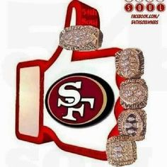 5 Super Bowls never looked so pretty; Niners Girl, Sf Niners, Forty Niners, Nfl 49ers, 49ers Fans, 49ers Pictures, 49ers Super Bowl, Super Bowl Rings, Football Memes