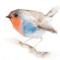 Little Red Breasted Bird  Original Watercolor by dearpumpernickel, $68.00