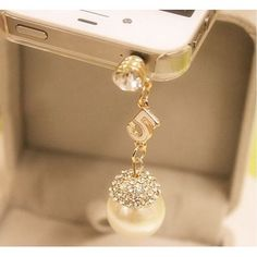 TF175 Korean Style Pearl Dustproof Cellphone Pendants$5