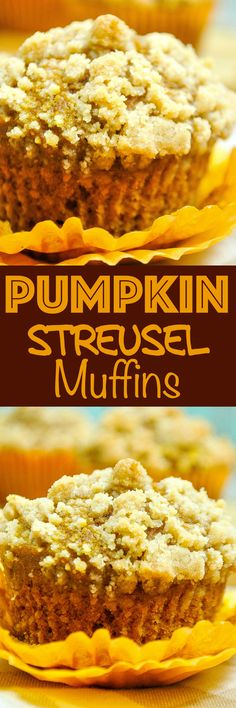 Pumpkin Muffins: Tender pumpkin muffins topped with a buttery streusel topping. These fluffy muffins are the best Fall breakfast treat! via Baking Beauty (Krystle) Zucchini Muffins, Muffins Blueberry, Streusel Muffins, Streusel Topping, Almond Muffins, Muffin Tin Recipes, Baking Recipes, Cupcakes, Cupcake Cakes