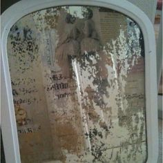 Decoupaged antique mirror