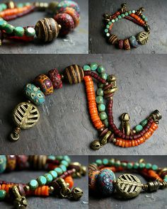 handmade polymer clay beads mixed with beads made of metals, stones, clay etc. Gorgeous.