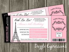 Paris Boarding Pass Invitation Beautiful Paris Boarding Pass Birthday Invitation Free by Paris Invitations, Passport Invitations, Ticket Invitation, Birthday Invitations, Shower Invitation, Invites, Baby Shower Paris, Shower Baby, Thema Paris