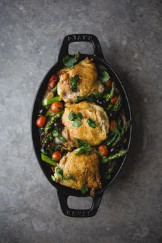 Baked Chicken With Asparagus, olives and tomatoes in a white wine sauce / The Modern Proper