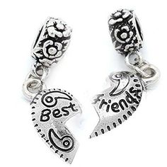 2 Piece Best Friends Half Heart Dangles European Bead Compatible for Most European Snake Chain Bracelet