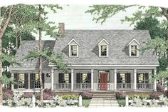 Southern Style House Plan - 3 Beds 2 Baths 1680 Sq/Ft Plan #406-264 Exterior - Front Elevation - Houseplans.com