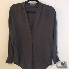 Vince Size XS silk dolman top Draped Vince top. Olive/slate color. Like new! Size XS. 100% silk. Vince Tops Blouses