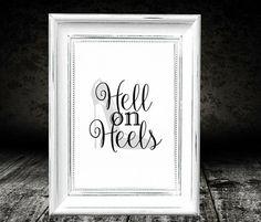 Heels Printable Black and White Print Black by MrsPrintsCharming