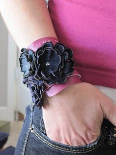 "DIY leather bracelet--a candle flame makes the leather ""curl"""