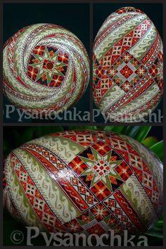 Pysanky Egg by Pysanochka. Love the swirling effect.