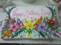 super duper mother's day flowers - This didn't turn out half bad, either.A full sheet cake gives you LOTS of room for flowers!