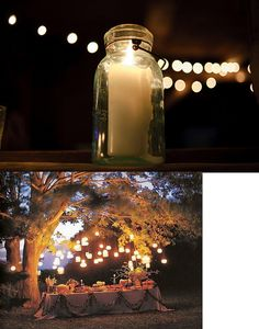Mason jar lights about out door dining table