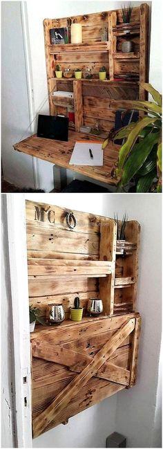 pallets folding desk cum shelf