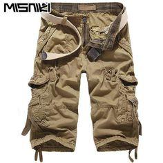 52a568fe22 MISNIKI 2017 Top Fashion Calf-length Mens Cargo Shorts Solid Multi-pocket  Men Short Pants