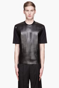 Dsquared2 Black Guy Fit Slats T_shirt -  Dsquared2 Black Guy Fit Slats T_shirt Dsquared2 Short sleeve relaxed_fit t_shirt in black. Ribbed crewneck collar. Rubberized semi_gloss tonal slats stitched at front. Logo piece at back yoke. Tonal stitching. Price $695.00 Click HERE for more Information
