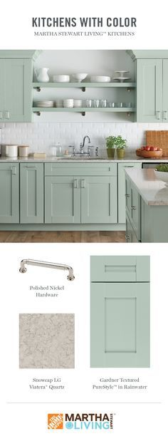 For a change from wood tones, Martha Stewart Living PureStyle color options are shown off to great effect on the Gardner kitchen door style. Colors like Rainwater can be a breath of fresh air, making…More New Kitchen Cabinets, Kitchen Cabinet Colors, Kitchen Doors, Painting Kitchen Cabinets, Kitchen Redo, Kitchen Design, China Cabinets, Martha Stewart, Trendy Home