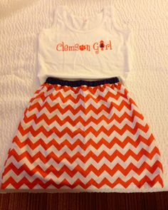The Clemson Girl shop is a store for all female Clemson fans -- selling a variety of Clemson Girl branded gifts like t-shirts, koozies, car decals, and more. Autumn Winter Fashion, Spring Fashion, Chevron Skirt, Georgia Girls, My Giants, College Football Teams, Clemson Tigers, Orange Is The New Black, Girls Shopping