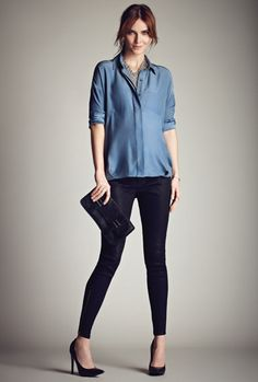 Stork & Babe exclusively at Thyme Maternity ::  Silk maternity blouse | Coated maternity skinny jean  Blouse de maternité en soie | Jean de maternité skinny