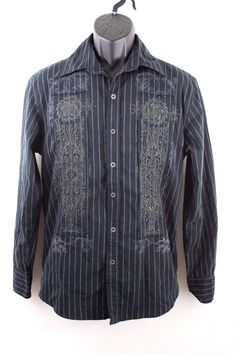 2f646f9aec Roar Men s Embroidered Striped Shirt Long Sleeve Size S Cotton Blend Black   Roar  ButtonFront