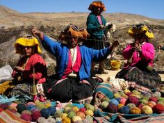 Spinning wool in Peru.