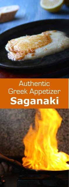 Cheese saganaki is the famous Greek meze that consists of fried cheese that is set ablaze with Brandy tableside to the shout of Opa! Cheese saganaki is the famous Greek meze that consists of fried c Greek Appetizers, Cheese Appetizers, Appetizer Recipes, Meze Recipes, Greek Fried Cheese, Greek Meze, Mezze, Musaka, Macedonian Food
